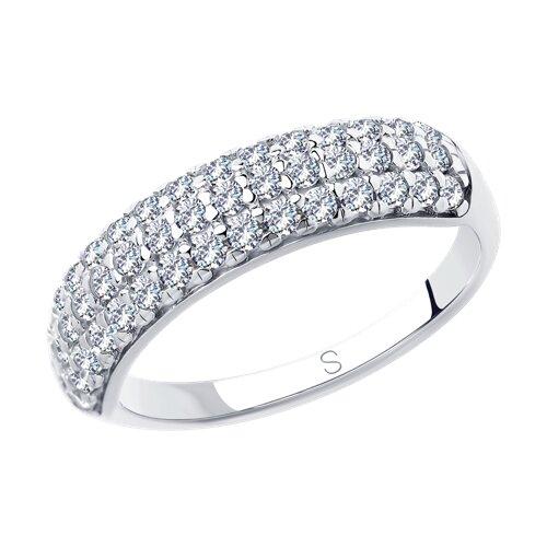 Кольцо из серебра с фианитами (94012850) - фото