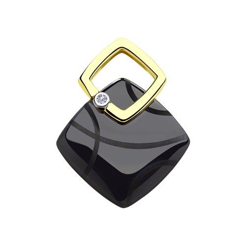 Подвеска из желтого золота с бриллиантом и чёрным керамической вставкой цены онлайн