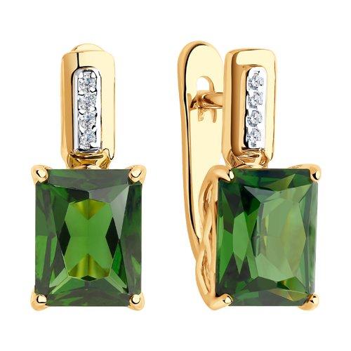 Серьги из золота с зелеными ситаллами и фианитами 725836 SOKOLOV фото 3