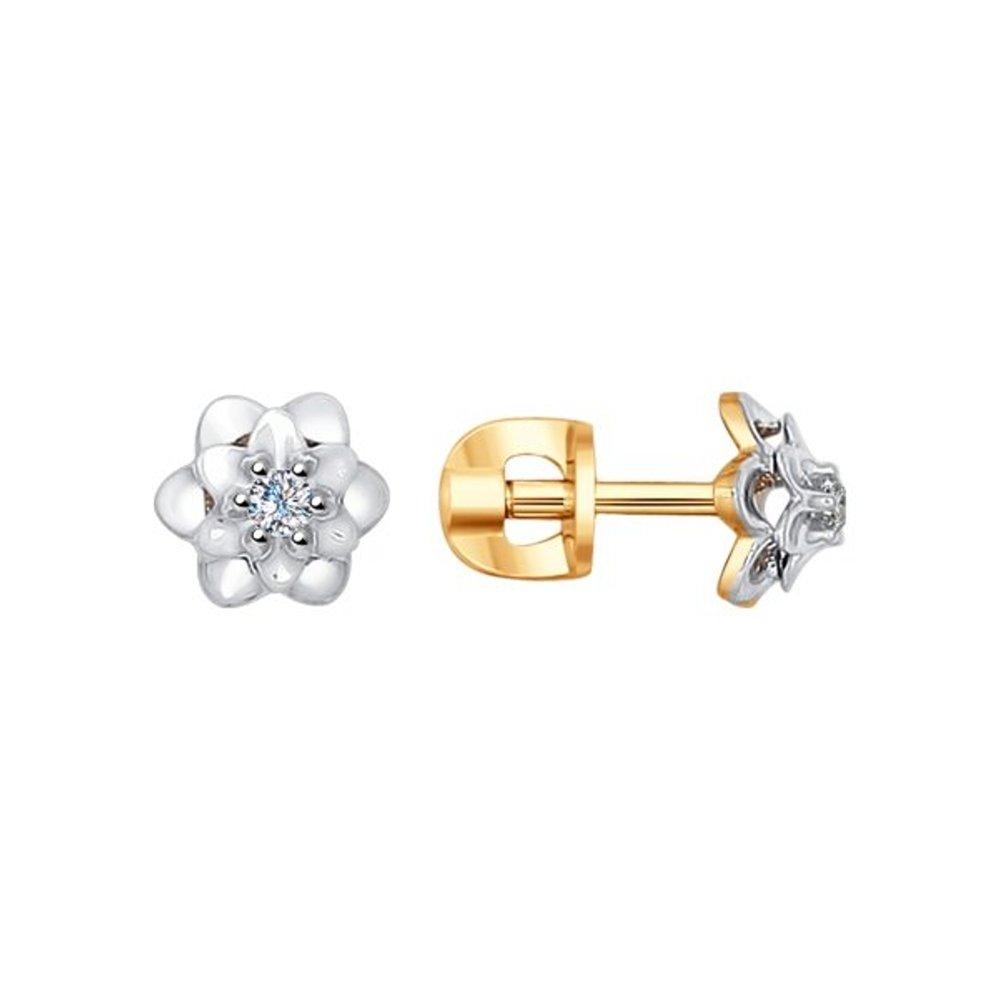 Фото - Серьги-пусеты SOKOLOV из комбинированного золота с бриллиантами асимметричные серьги пусеты sokolov из золота