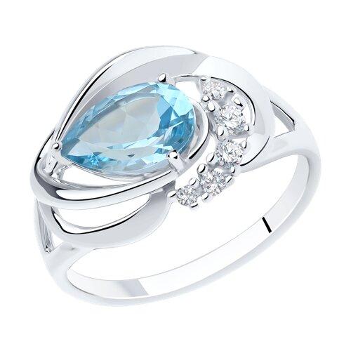 Кольцо из серебра с топазом и фианитами (92011915) - фото