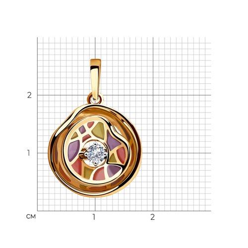 Подвеска из комбинированного золота с бриллиантом 6039030 SOKOLOV фото 2