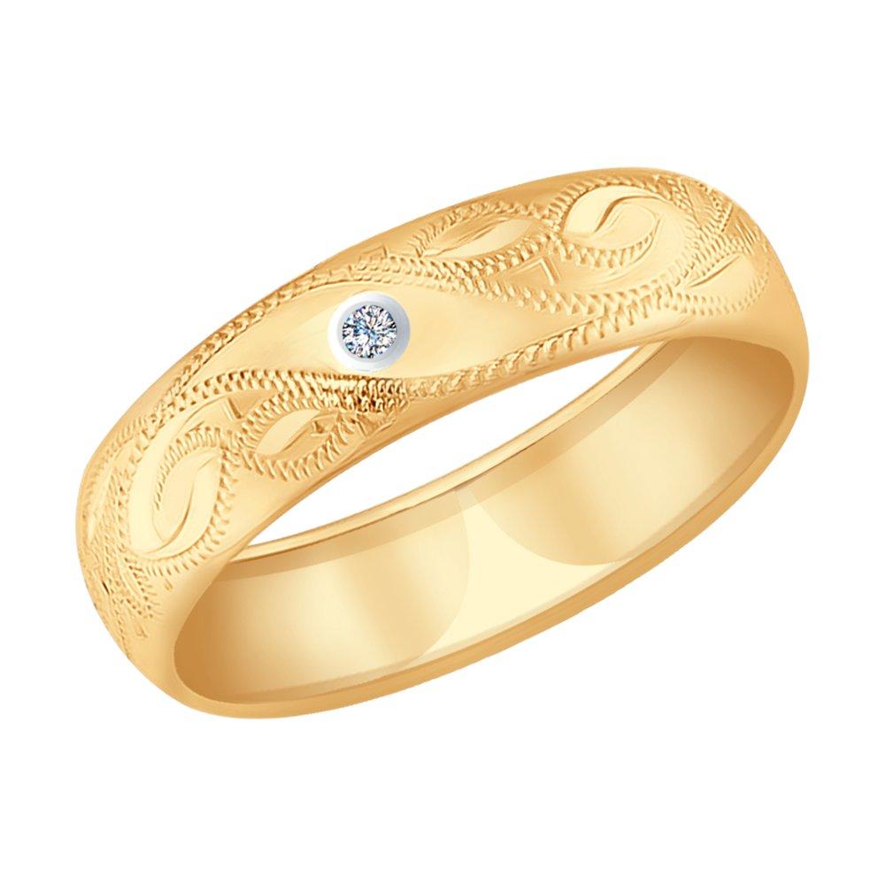 Кольцо SOKOLOV из золота с гравировкой с бриллиантом sokolov золотое кольцо с гравировкой 014743 размер 19 5