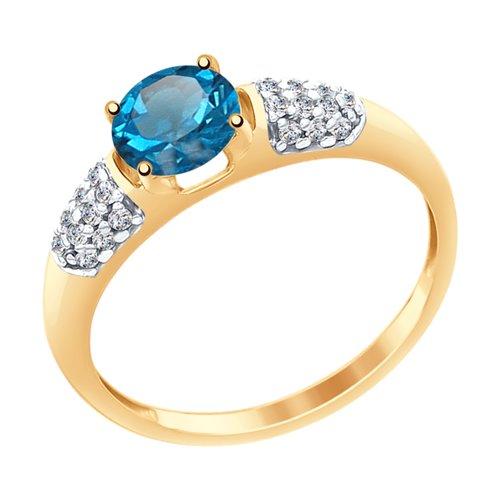 Кольцо из золота с синим топазом и фианитами (37714977) - фото