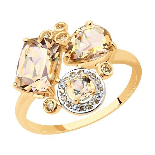 Кольцо из золота с топазами Swarovski и жёлтыми Swarovski Zirconia (715020) - фото
