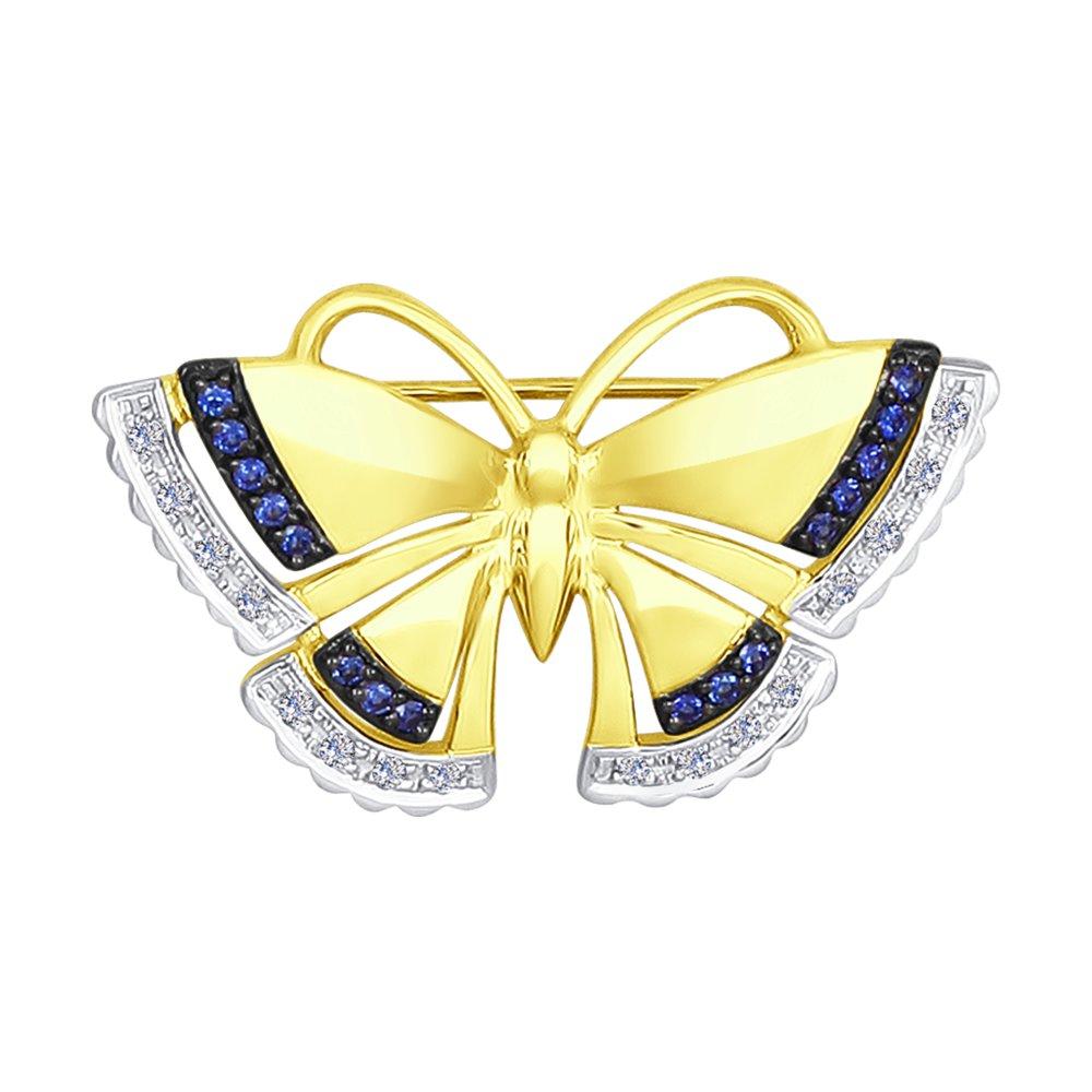 Брошь SOKOLOV из жёлтого золота «Бабочка» с бриллиантами