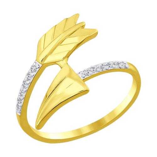 Кольцо из желтого золота с фианитами (016927-2) - фото