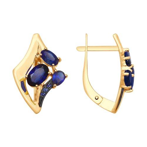 Серьги из золота с синими корундами и фианитами (725488) - фото