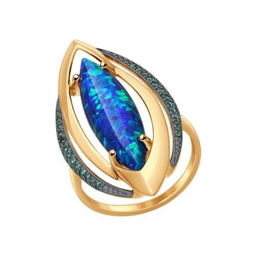 Кольцо из золота с зелеными фианитами