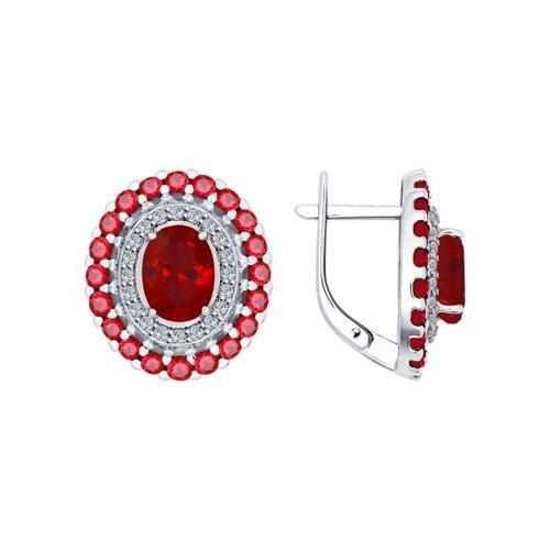 Серьги из серебра с корундами рубиновыми (синт.) и фианитами