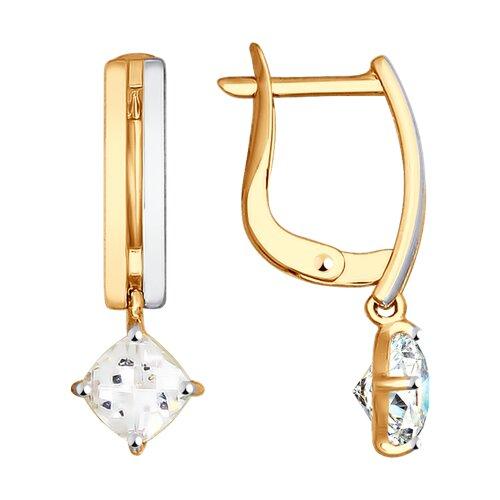 Серьги из золота со Swarovski Zirconia (81020308-4) - фото