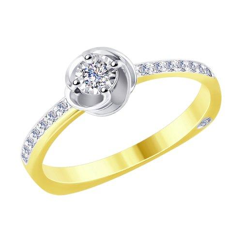 Кольцо из комбинированного золота с алмазной гранью с бриллиантами (1011698-2) - фото