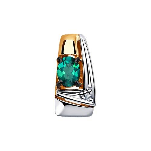 Подвеска из золота с бриллиантом и гидротермальным изумрудом (синт.) (6037012) - фото