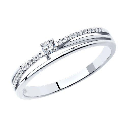 Кольцо из белого золота с бриллиантами (1011319) - фото