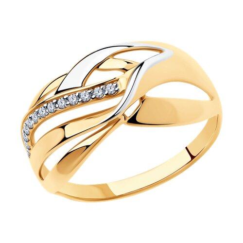 Кольцо из золота с фианитами (018313) - фото