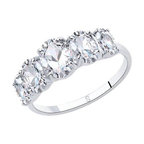 Кольцо из серебра с фианитами (94013066) - фото