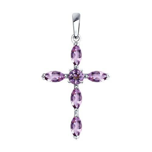 Крест из серебра с аметистами (92030509) - фото