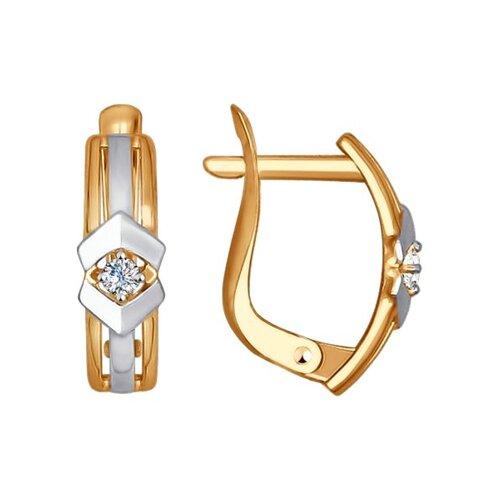 Серьги из золота с фианитами (027419) - фото