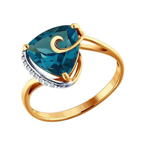 Золотое кольцо с тёмно-синим треугольным топазом SOKOLOV кюп женское золотое кольцо с куб циркониями и топазом alm1750203164 18 5