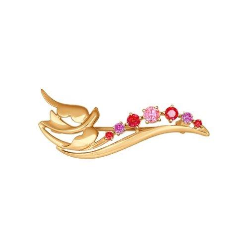 Брошь SOKOLOV из золота с сиреневыми, розовыми и красными фианитами недорого