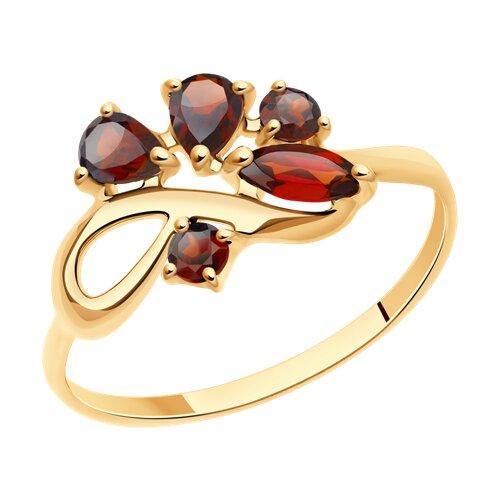 Кольцо из золота с гранатами (714609) - фото