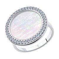 Кольцо из серебра с перламутром и фианитами