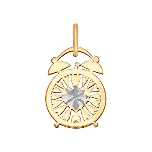 Подвеска «Будильник» из золота с алмазной гранью