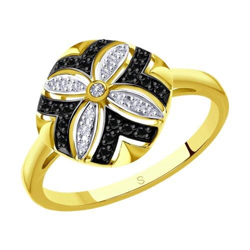 Кольцо из желтого золота с бриллиантами (7010048-2) - фото