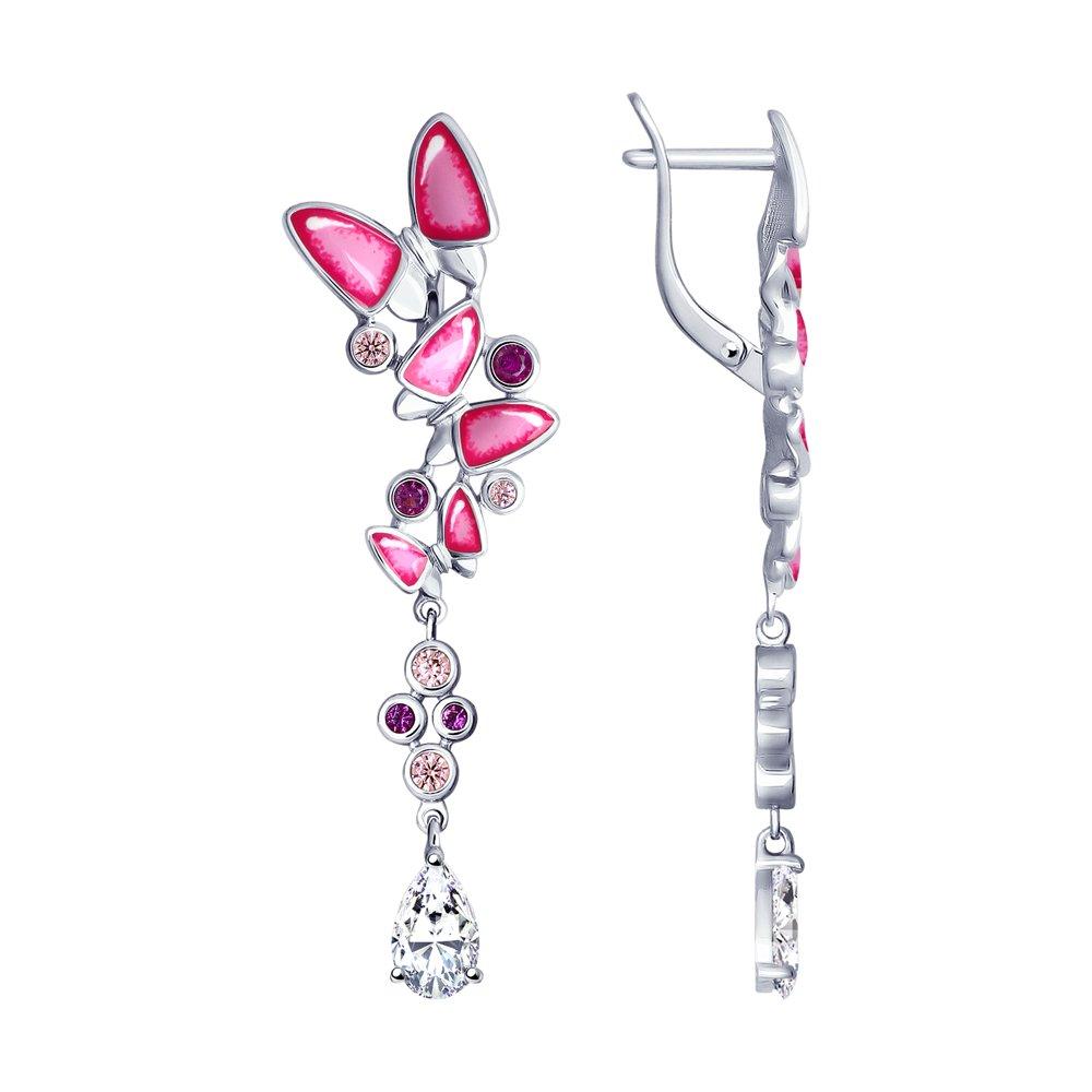 Длинные серебряные серьги с эмалью «Бабочки» SOKOLOV