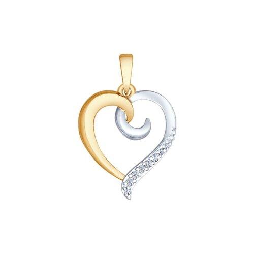 Подвеска в форме сердечка из золота с фианитами
