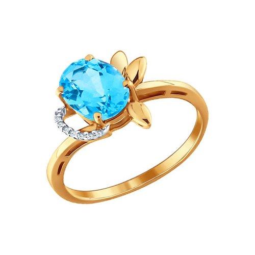 Кольцо SOKOLOV из золота с глубоким голубым топазом