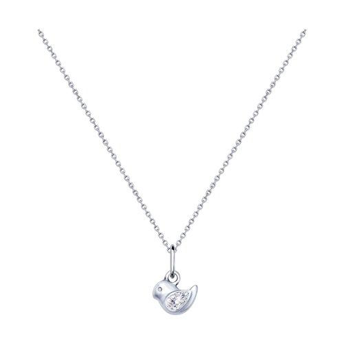 Колье из серебра с фианитом (94070220) - фото