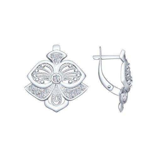 Серьги из серебра с фианитами (94022430) - фото