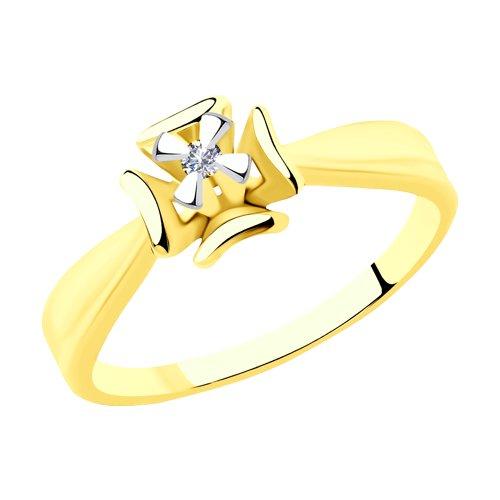 Кольцо из желтого золота с бриллиантом (1011907-2) - фото