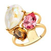 Кольцо из серебра с белым, коричневым и розовым кристаллами Swarovski