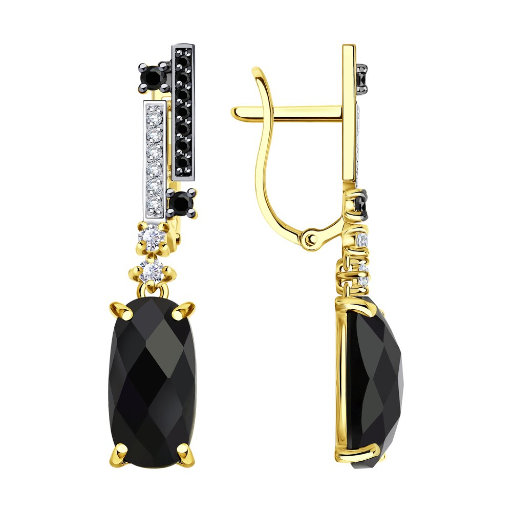 Серьги SOKOLOV из желтого золота с чёрными агатами и бесцветными и чёрными фианитами золотое кольцо с чёрными и бесцветными фианитами sokolov