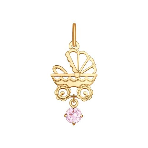 Подвеска из золота «Коляска» с розовым фианитом