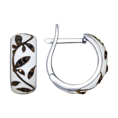 Серьги из серебра с эмалью с чёрными фианитами