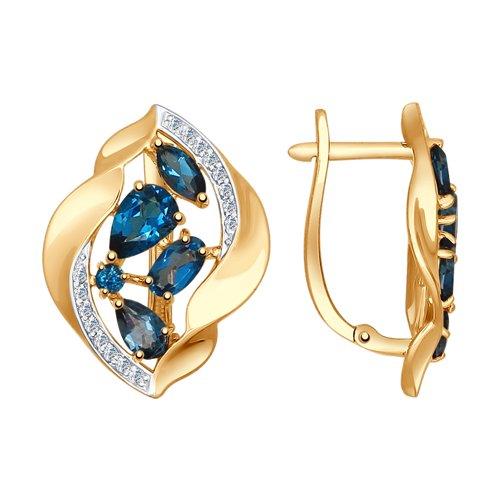 Серьги из золота с синими топазами и фианитами (725005) - фото