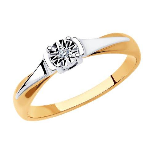 Кольцо из комбинированного золота с алмазной гранью (1011689) - фото