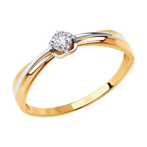 Кольцо из золота с фианитом Сваровски 81010470 SOKOLOV фото