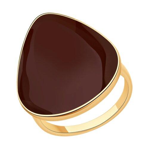 Кольцо из золочёного серебра с эмалью (93010835) - фото