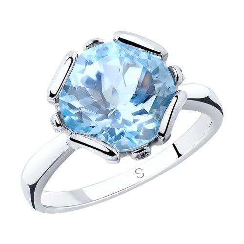 Кольцо из серебра с топазом и фианитами (92011761) - фото