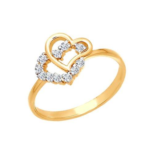 Золотое кольцо с переплетёными сердцами SOKOLOV золотое кольцо ювелирное изделие 01k624899