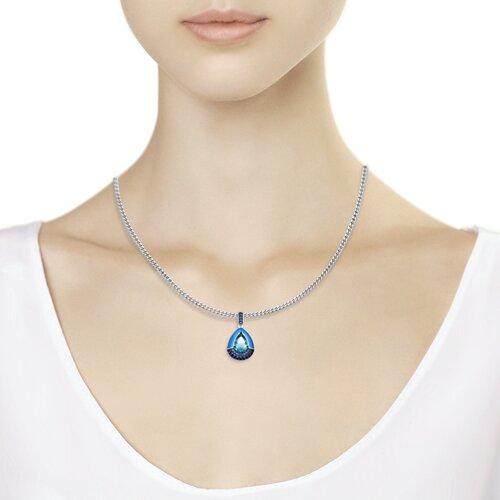 Подвеска из серебра с эмалью и синим ситаллом и фианитами (92030531) - фото №2