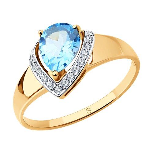 Кольцо из золота с топазом и фианитами 715267 sokolov фото