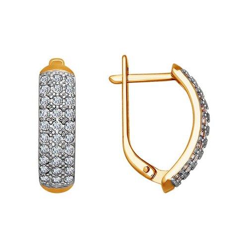 Серьги из золота с фианитами (021818) - фото