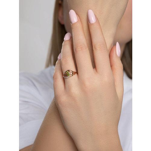 Кольцо из золота с хризолитом и фианитами (714715) - фото №3