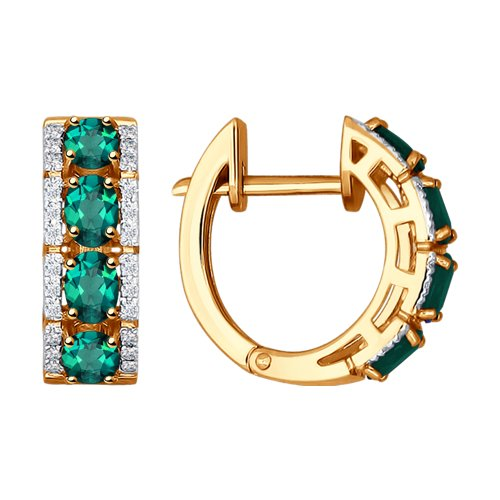 Золотые серьги с изумрудами в окружении бриллиантов