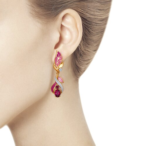 Серьги из золота с эмалью с бриллиантами и рубинами (6029023) - фото №3